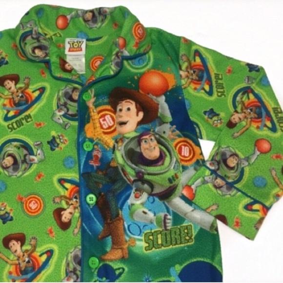 Disney Store Toy Story Woody Buzz Lightyear Long Sleeve Pajama Set Boy Size 5 6